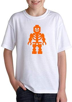 Halloween Lego Skeleton Youth White Tshirt