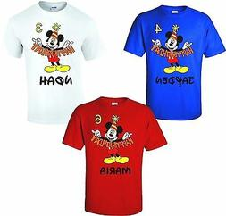 HAPPY BIRTHDAY Mickey Mouse Disney T-Shirts Add Name & Age!