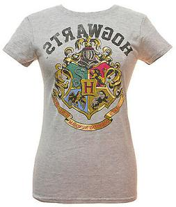 Harry Potter Juniors Hogwarts Crest Heather T-Shirt Grey Dis