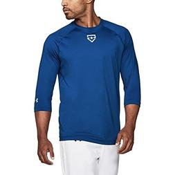 Under Armour Mens Heater 3/4 Training T, Royal/Silver, Small