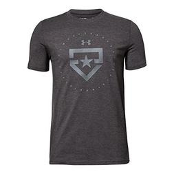 Under Armour Boy's Boys' Heater T-Shirt,Charcoal Medium Heat