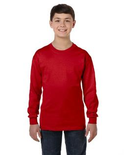 Gildan Heavy Cotton Youth Long-Sleeve T-Shirt, Red, Medium