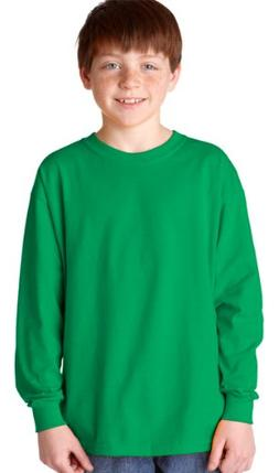 Gildan Heavy Cotton Youth Long-Sleeve T-Shirt, Irish Green,
