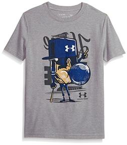 Under Armour Boys' Home Plate T-Shirt, Steel Light Heather /