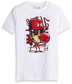 Under Armour Boys' Home Plate T-Shirt, White /Rapture Red, Y