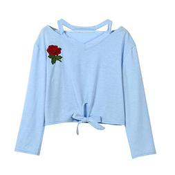 iDWZA Women Lady Fashion Daily Sweatshirt Rose Print Causal