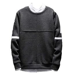 kaifongfu Men Sweater with Round Neck Loose Bottoming T-Shir