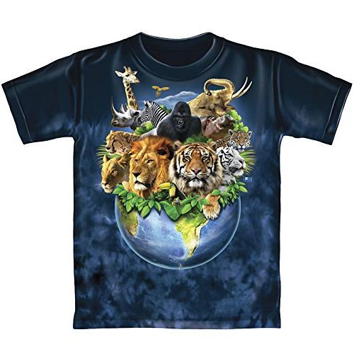 Animals On Planet Earth Tie-Dye Youth Tee Shirt