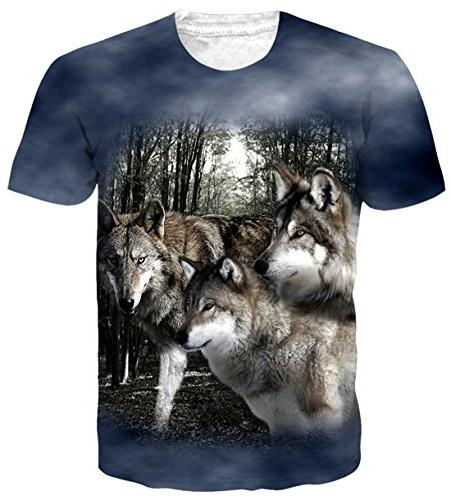 Belovecol Women Mens Couple T Shirts 3D Print Froest Wolves