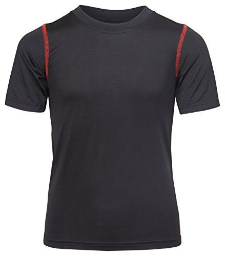 'Black Dry-Fit T-Shirts, Black Red, Small