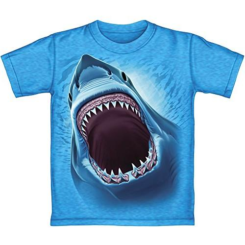 Great White Shark Turquoise Heathered Youth Tee Shirt