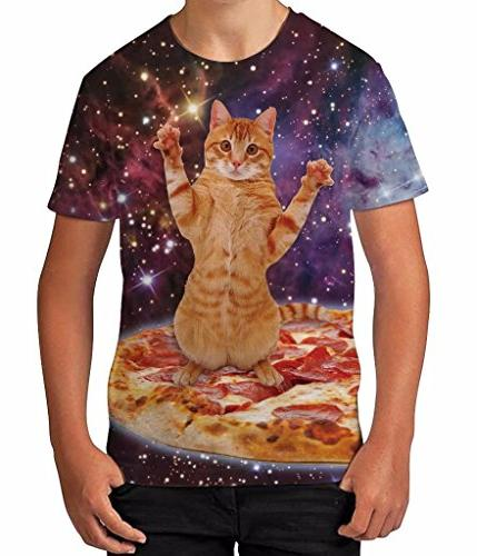 Kids Graphic T Shirt Boys Top Pizza Cat in Space Youth Tee S