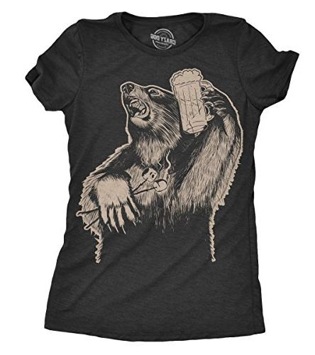 Womens Party Bear Tshirt Funny Drinking Grizzly Tee for Ladi