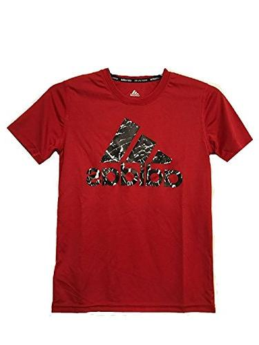 adidas Boys 8-20 Youth Red/Black Climalite Performance T-Shi