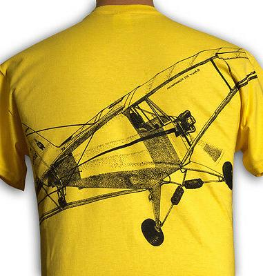 Airplane Piper Cub print on back -- to