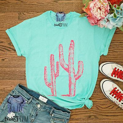 Cactus Adult T-Shirt-Cactus Tee Mommy me