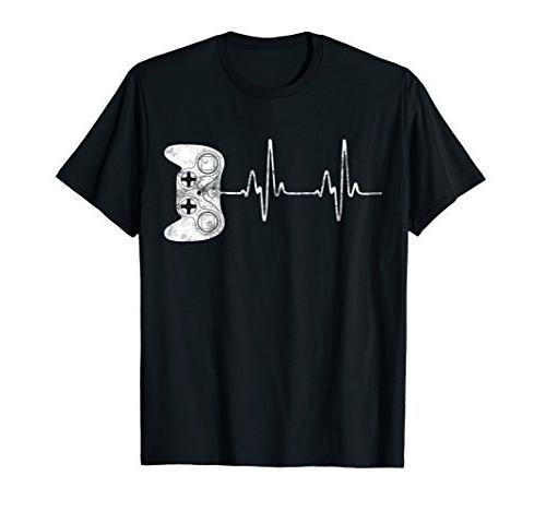 gamer heartbeat t shirt video game lover