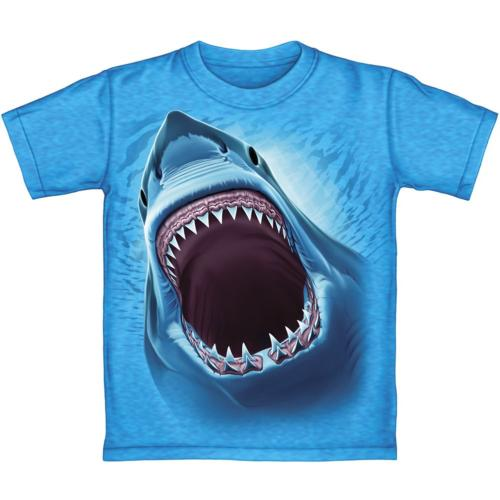 great white shark turquoise heathered youth tee