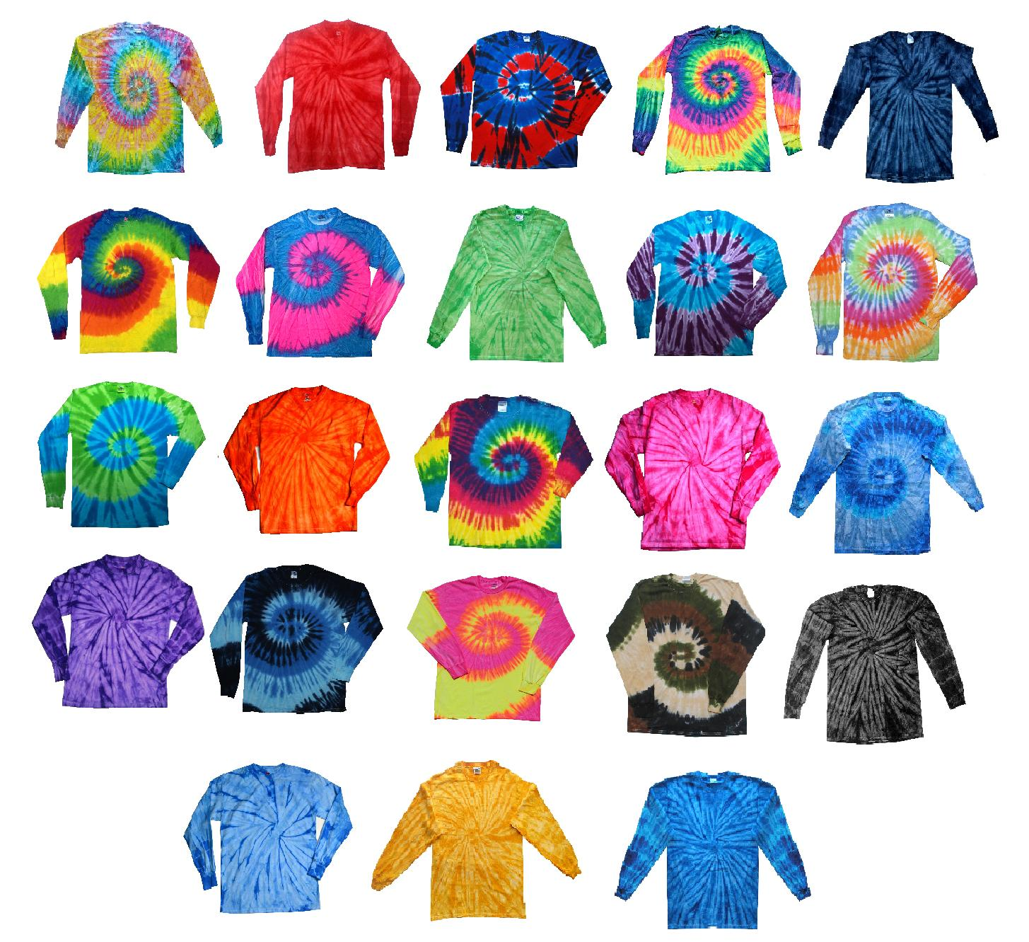 long sleeve tie dye t shirts multicolor