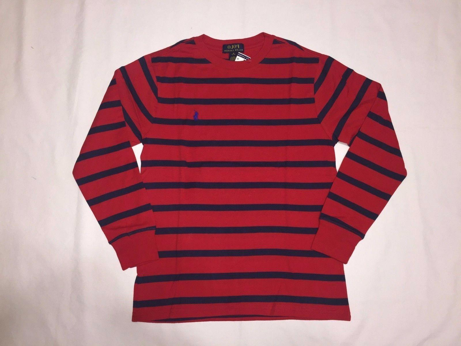NWT,POLO RALPH YOUTH STRIPES T.SHIRTS-RED / NAVY