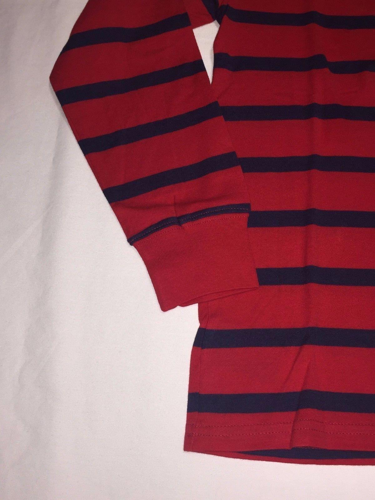 NWT,POLO BOY'S YOUTH STRIPES LONG T.SHIRTS-RED / NAVY