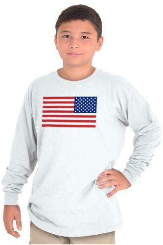 Patriotic American Flag Stars Stripes Youth Long Sleeve T