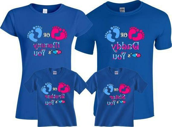 Pink Blue Gender Pregnant Expected Family Funny Matching Cute Shirts