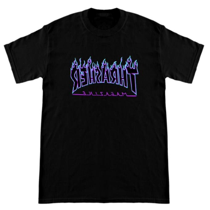 purple letter thrasher magazine t shirt skateboard