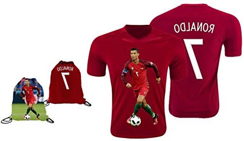 new arrival e7400 5e76b Ronaldo Jersey Style T-shirt Kids Cristiano Ronaldo Jersey Portugal T-shirt  Gift Set Youth Sizes ✓ Premium Quality ✓ ✓ Soccer Backpack Gift Packaging