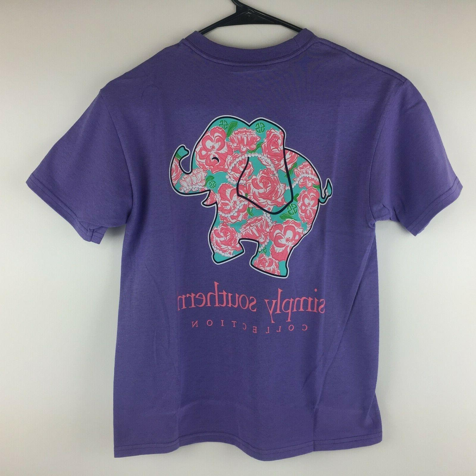 tee youth small t shirt elephant flowers