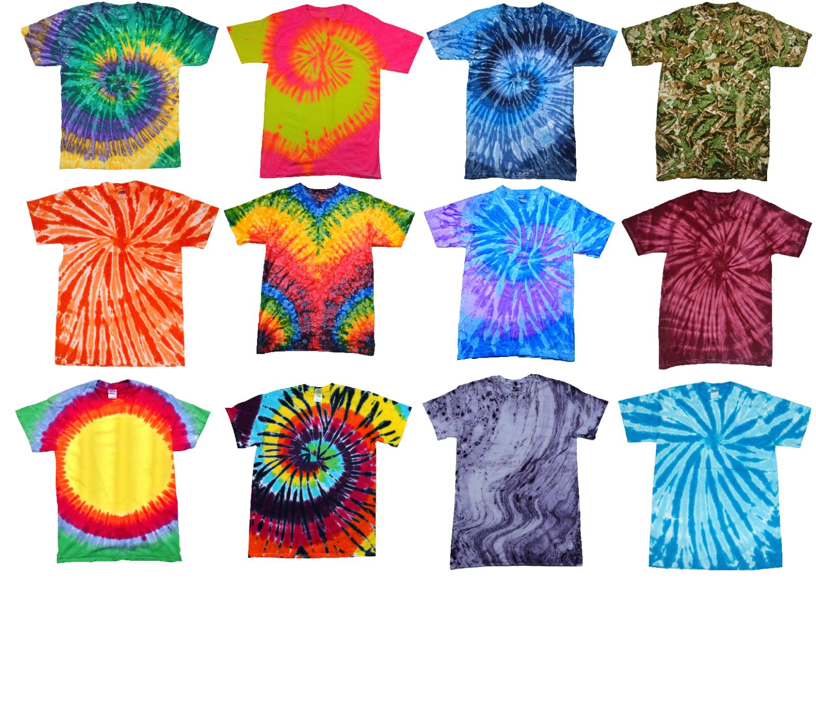 Tie Dye T-Shirts Multi-Color Kids & Adult  100% Cotton Color
