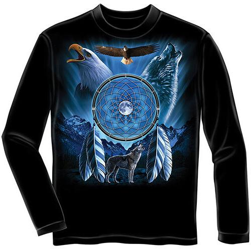 wolf eagle dreamcatcher long sleeve youth tee