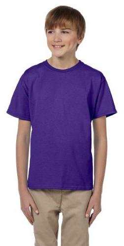 Hanes Youth 50/50 Short Sleeve T-Shirt, Purple, X-Small