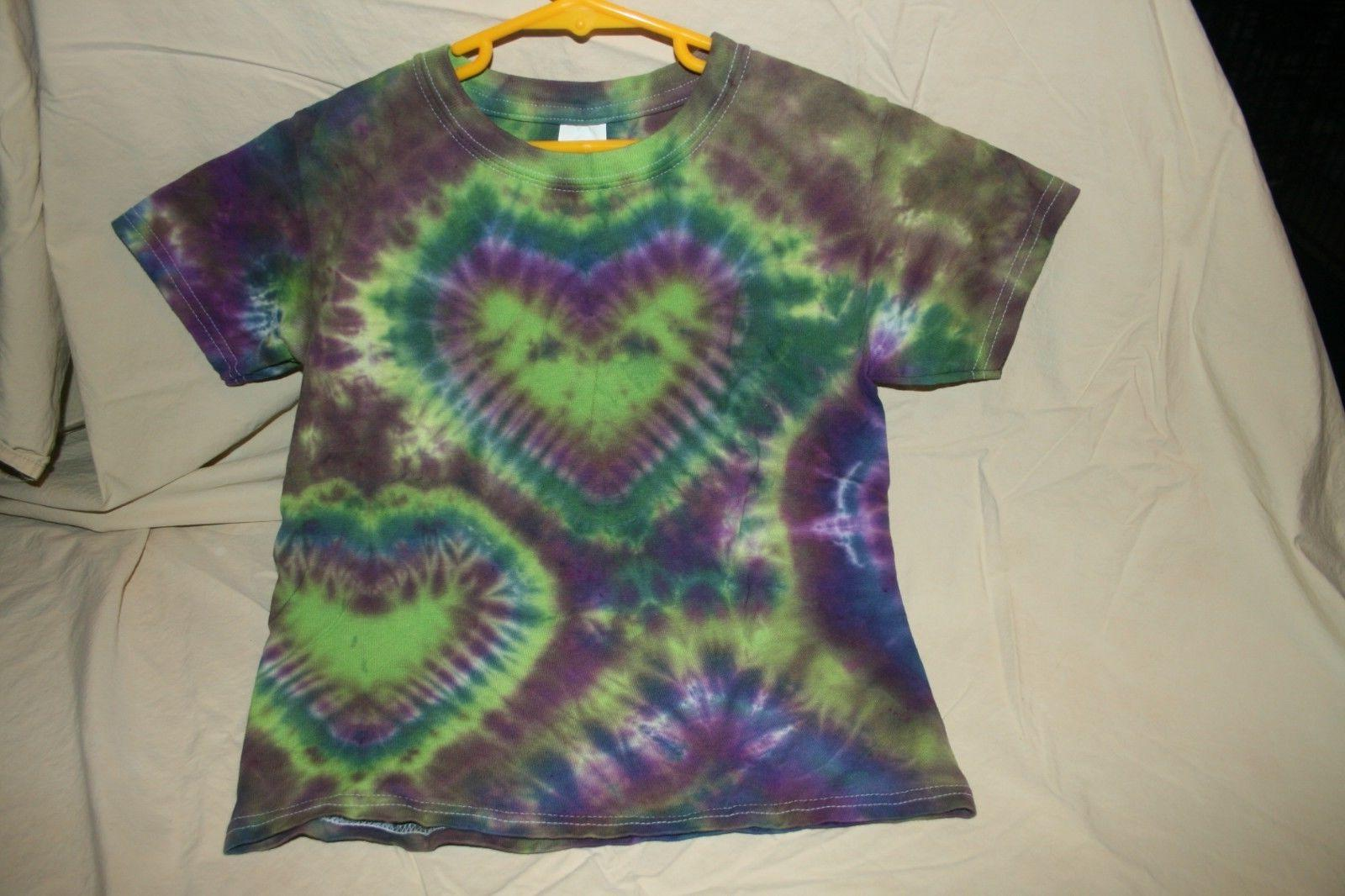 youth tie dye double heart tshirt new