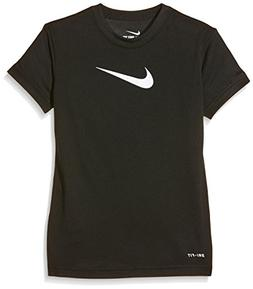 Nike Kids Girls Legend S/S Top , Black/White, LG (14-16