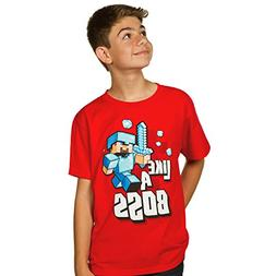 Minecraft Boy's 8-20 Like A Boss Youth T-Shirt, Red, Medium