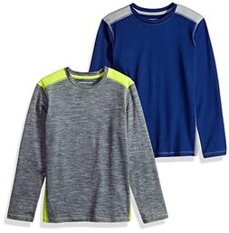 Amazon Essentials Big Boys' 2-Pack Long-Sleeve Pieced Active