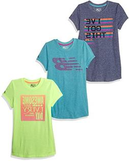 New Balance Little Girls' 3 Pack Graphic Tee, Heather/Lime/P