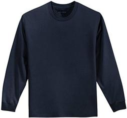 Joe's USA Youth Long Sleeve Heavyweight Cotton T-Shirts,Navy