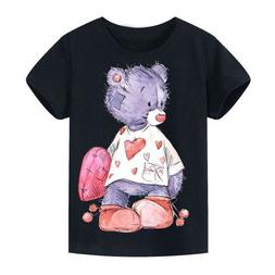 Lovely Heart Broken Bear Funny T Shirts For Youth Kids 100%