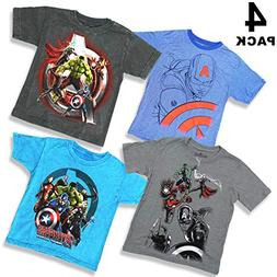 Marvel Comics Boys Youth Super Heroes 4 Pack T-Shirt Bundle