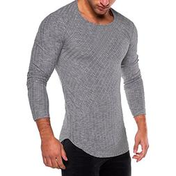 HGWXX7 Men's Fashion Solid O Neck Long Sleeve Muscle Tee T-S