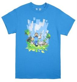 Minecraft Adventure Light Blue Youth's Official Licensed T-S