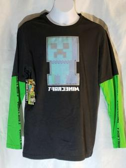 Minecraft Boy's Black Long Sleeve T-Shirt Size Youth XXL 1