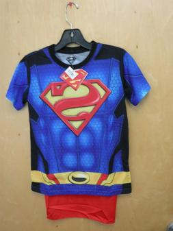 New SUPERMAN Sublimated Youth Costume Tee Shirt with Cape ME