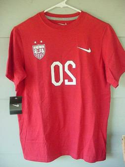 NEW NIKE USA Soccer Abby Wambach #20 T-Shirt Red World Cup Y