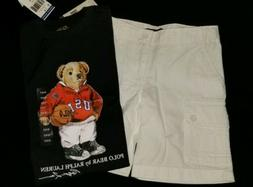 New youth boys size 4 white cargo Polo Ralph lauren shorts t