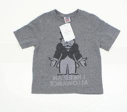 NWT Junk Food Youth Monopoly Funny Graphic T-Shirt Tee Grey