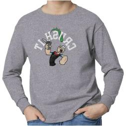 Officially Licensed Popeye Sailor Crush It Youth Long Sleeve