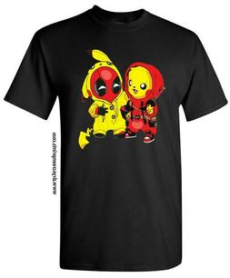 Pikapool Pikachu Deadpool Black T-shirt Size Adult/Youth S-2